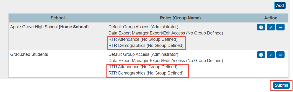 Save New User Access Roles