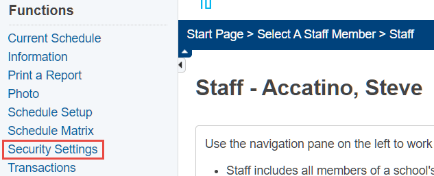 Staff - Security Settings